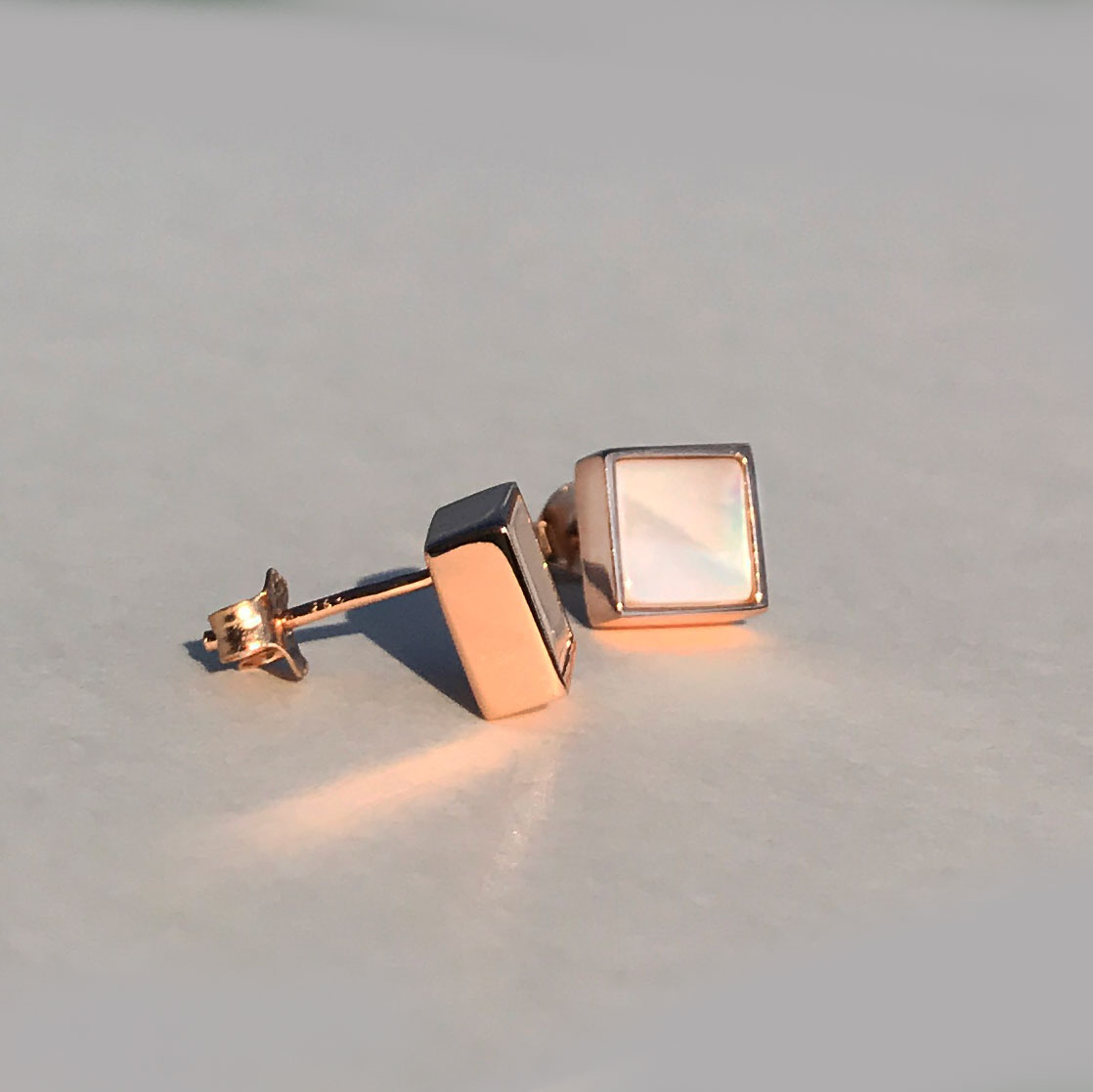 [디파르베] 925 silver+18k rose gold 천연 자개 로즈골드 스터드 이어링