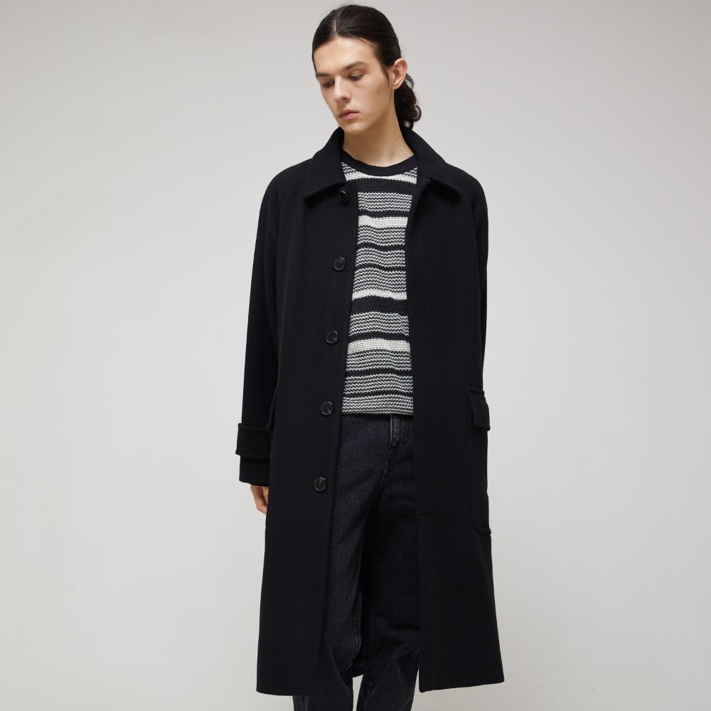 Cashmere Over Mac Coat - Black