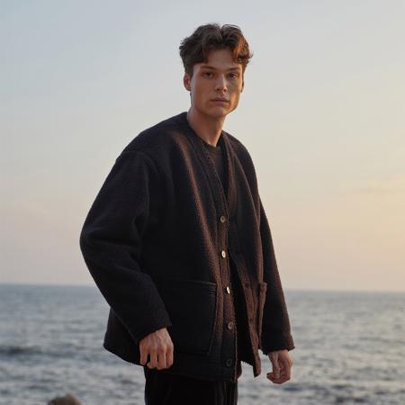 [L사이즈 11/30 예약배송]Fleece Outer Cardigan_BLACK