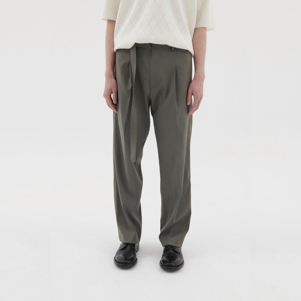 Belted Crease Pants (Light Olive)