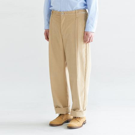 Corduroy Cutted Pants_Beige