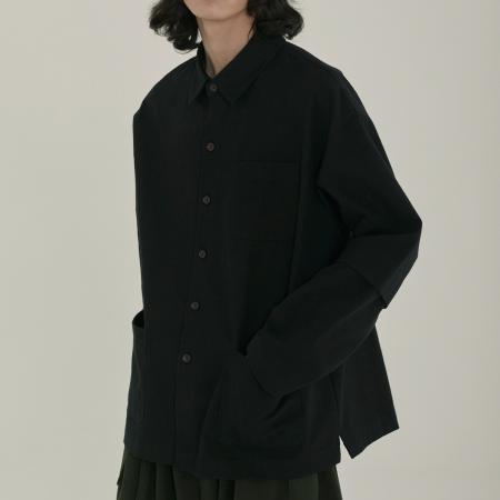 unisex roll up pocket shirts jacket black