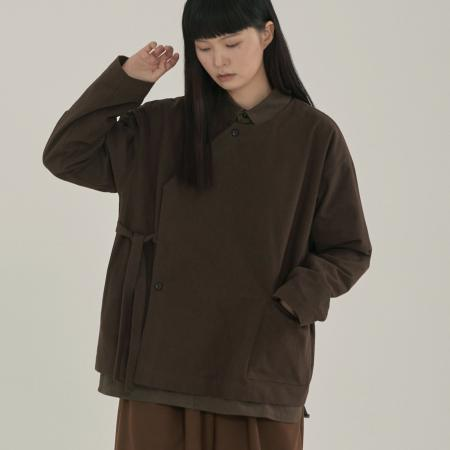unisex diagonal line shirts jacket brown