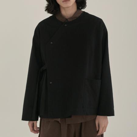unisex diagonal line shirts jacket black