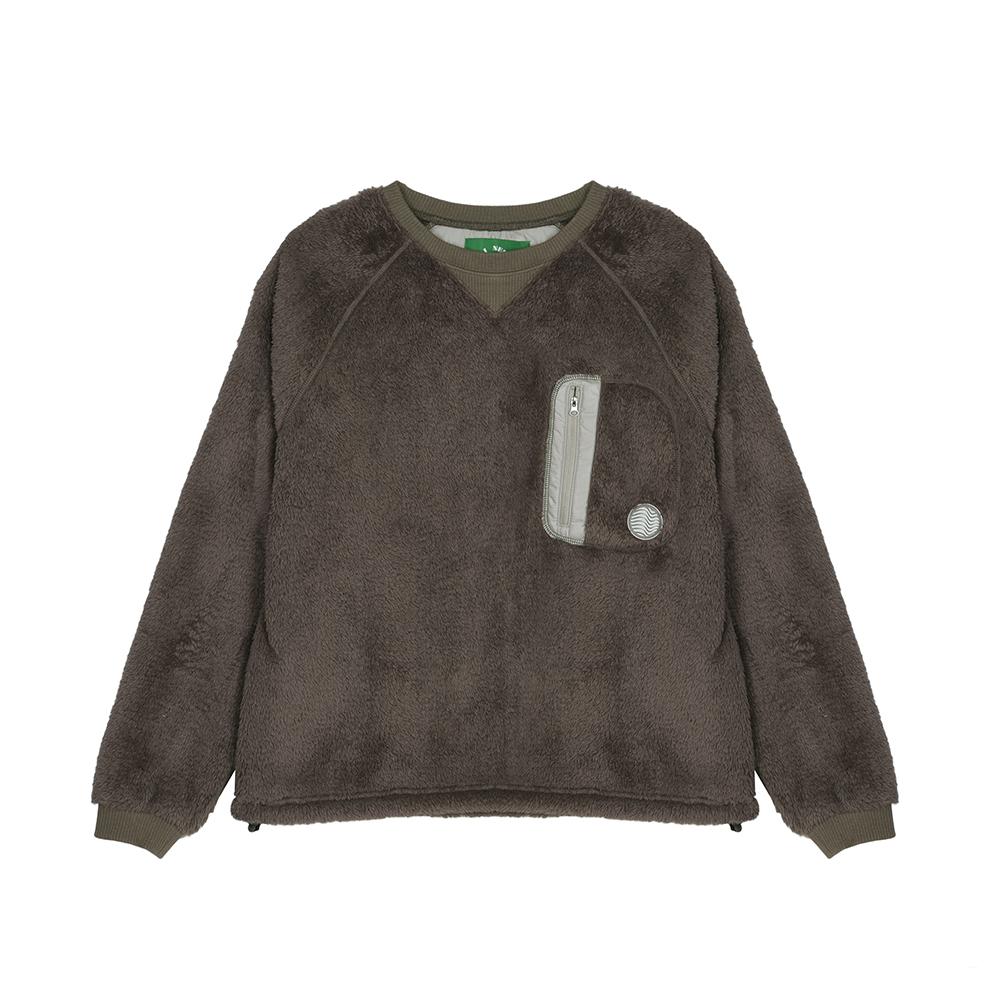 [warm fleece MTM] 웜후리스 맨투맨 카키브라운