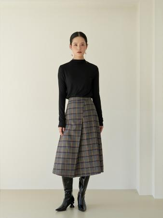 unbal shirring check midi skirt_Gray
