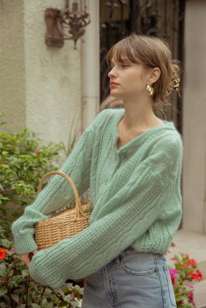 [신세경착용]JASMIN cable knit cardigan_fringy green