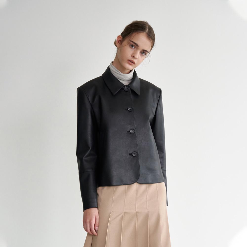eco leather cropped jacket