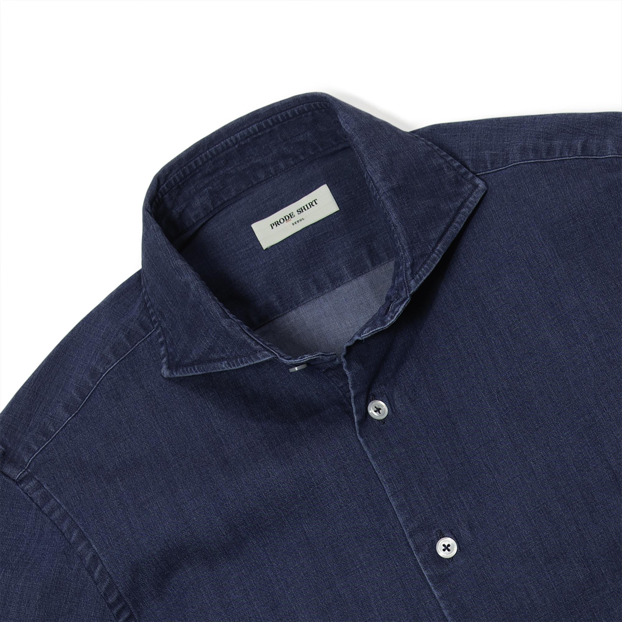 [리퍼브] 데님 와이드카라 셔츠 (BLUE)