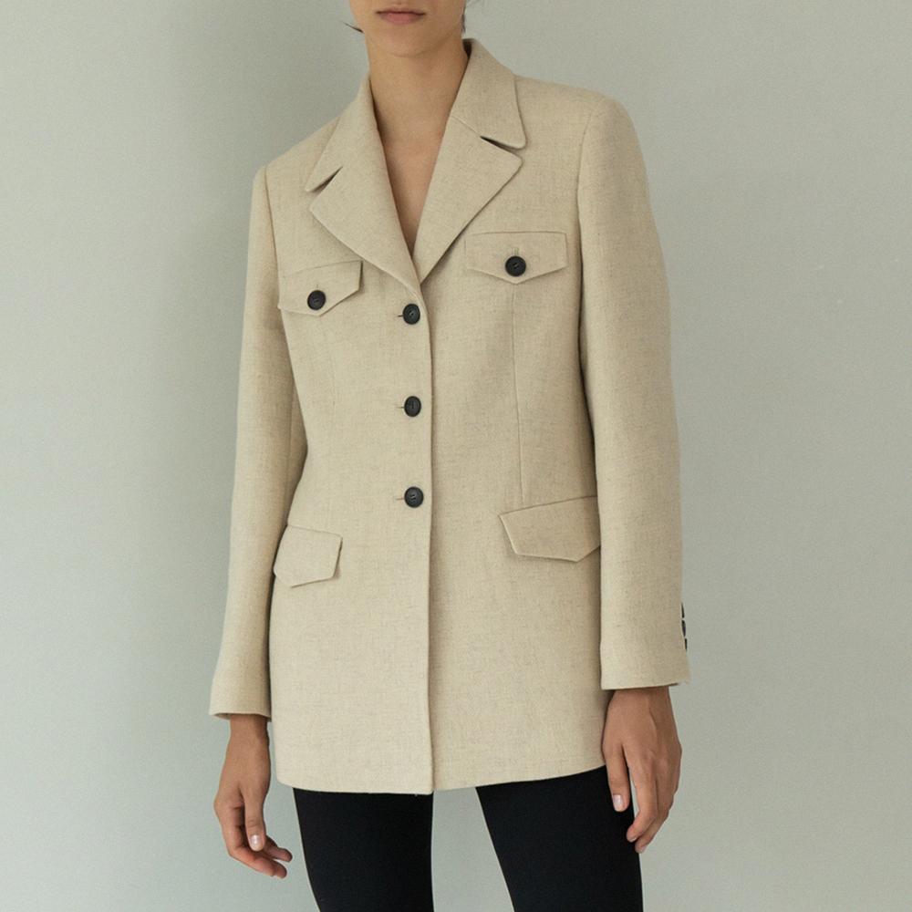 wool pocket half jacket (light beige)