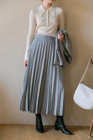 Grace accordion long skirt_light grey