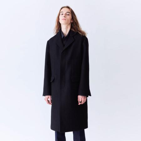 Melton Single Chesterfield Coat (Black)