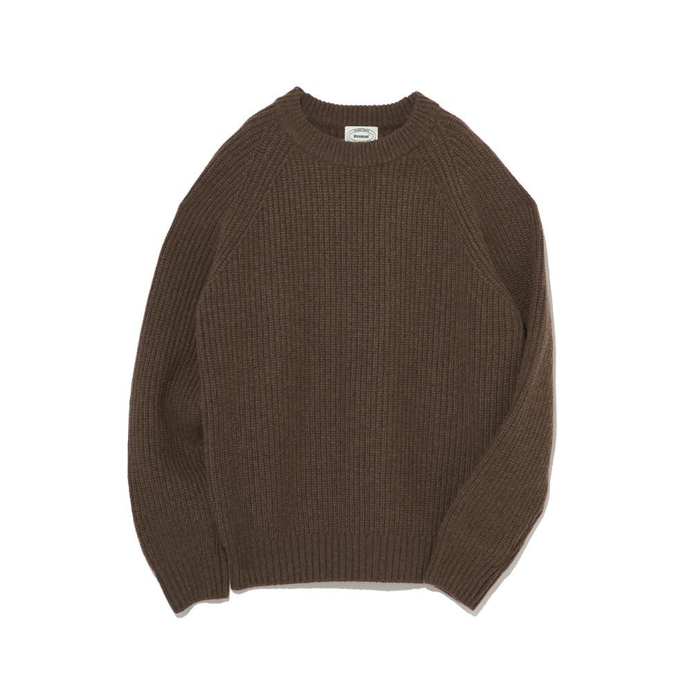 Wool Crew Neck Knit(Melange Brown)