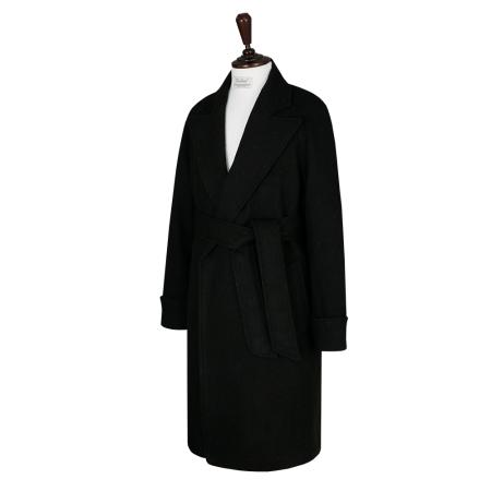 Cashmere Herringbone Raglan Robe Coat (BROWN)