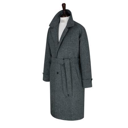 Tweed Herringbone Raglan Balmaccan Coat (Grey)