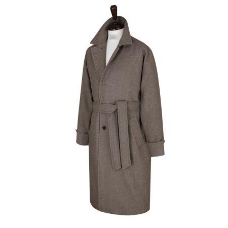 Wool Raglan Balmaccan Coat (Oatmeal)