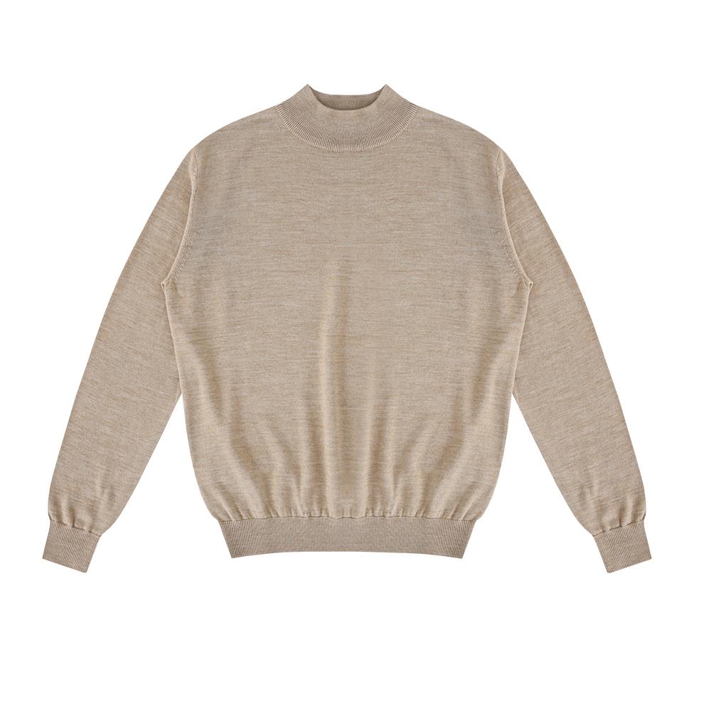 Wool soft Moc-Neck knit (Oatmeal)