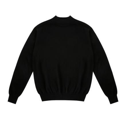 Wool soft Moc-Neck knit (Black)