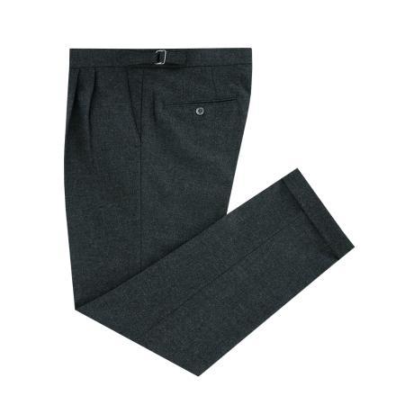 Wool Flannel two tuck adjust pants (Grey)