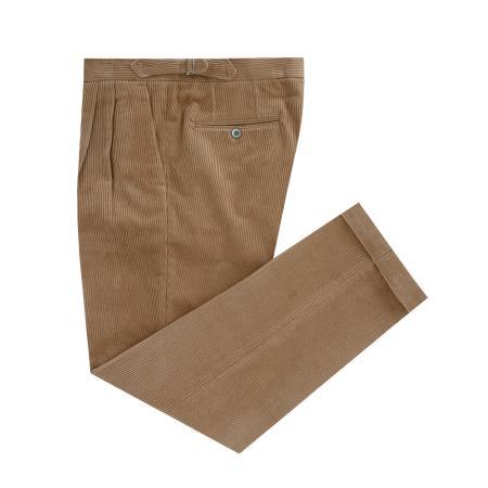 Corduroy two tuck adjust pants (Camel)