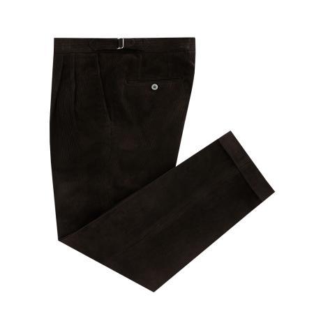 Corduroy two tuck adjust pants (brown)