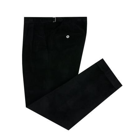 Corduroy two tuck adjust pants (Black)