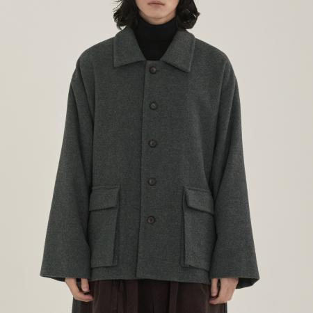 unisex pocket half coat gray
