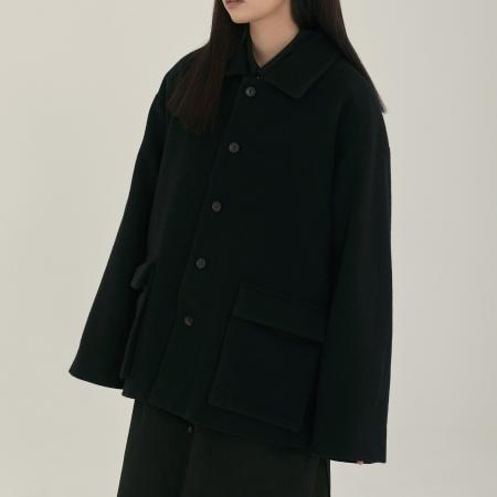 unisex pocket half coat black