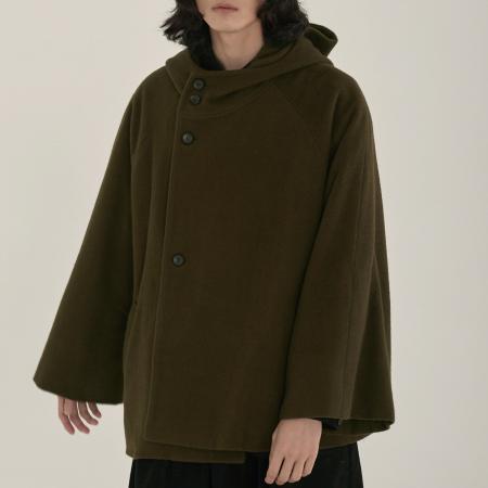unisex hood half coat khaki