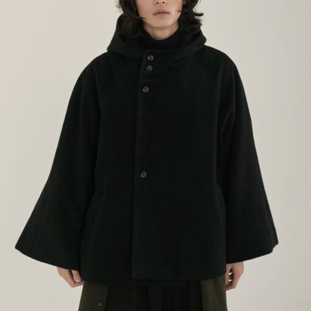 unisex hood half coat black