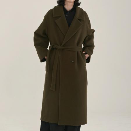 unisex double long coat khaki