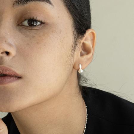 Small pearl hoop earring