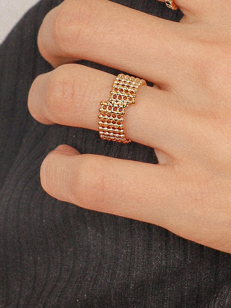 [유니제이] Out Of Line Silver Ring Ir101 [Gold]