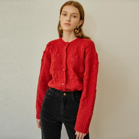 Hazel Balloon knit Cardigan_Red