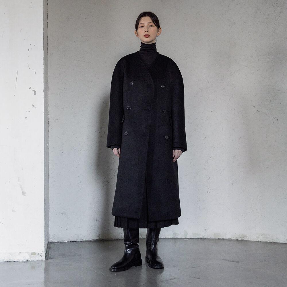 Collarless long coat (black)