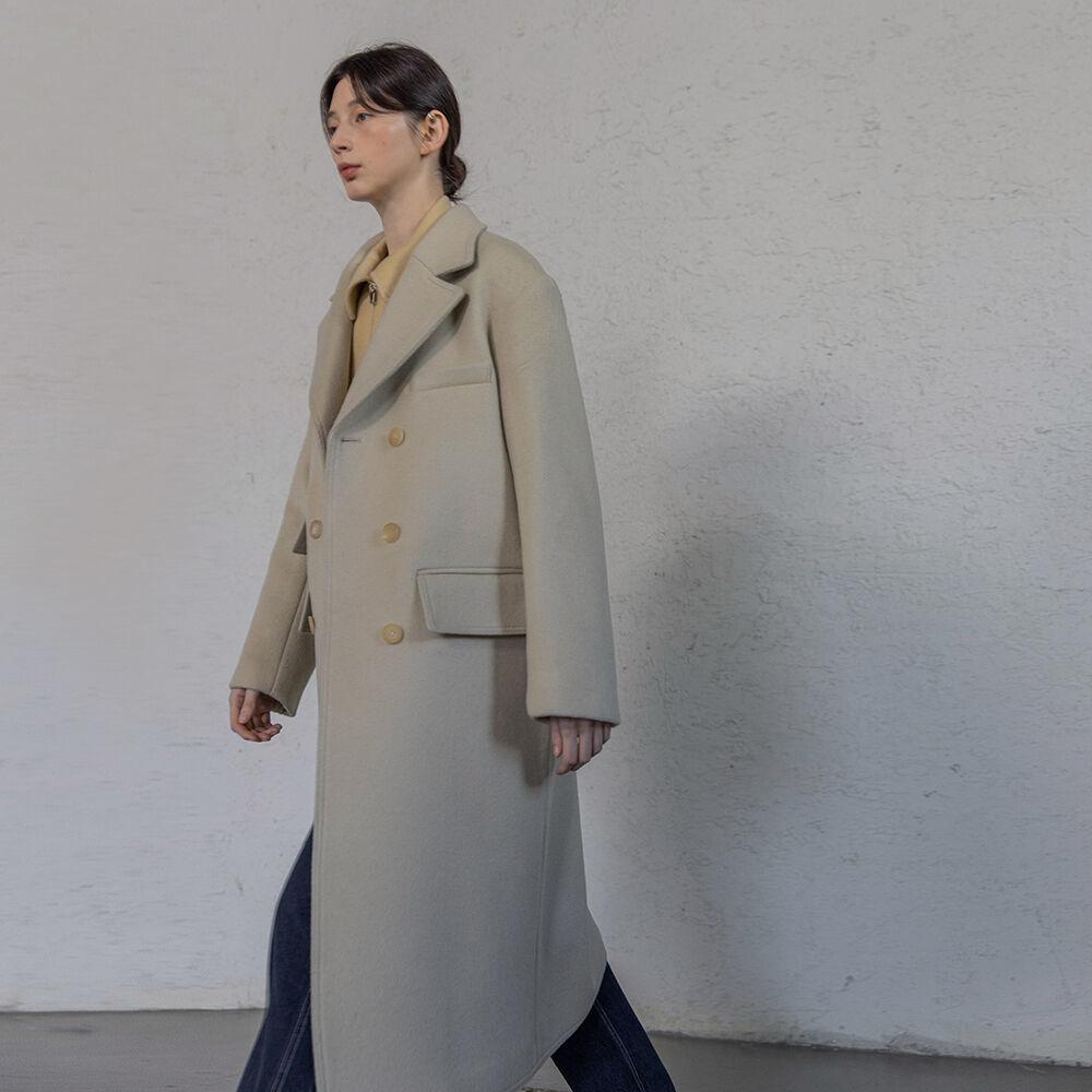 Wool double pocket coat (Light beige)