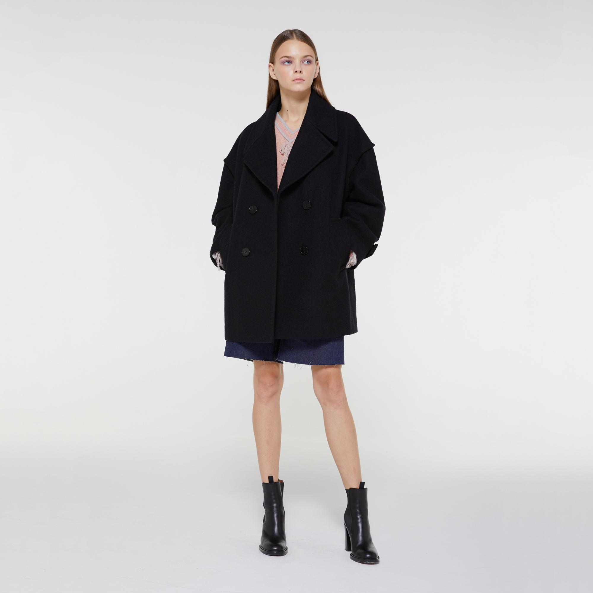 YOONA Oversized Double Breasted Coat BLACK w/ Marton Mills