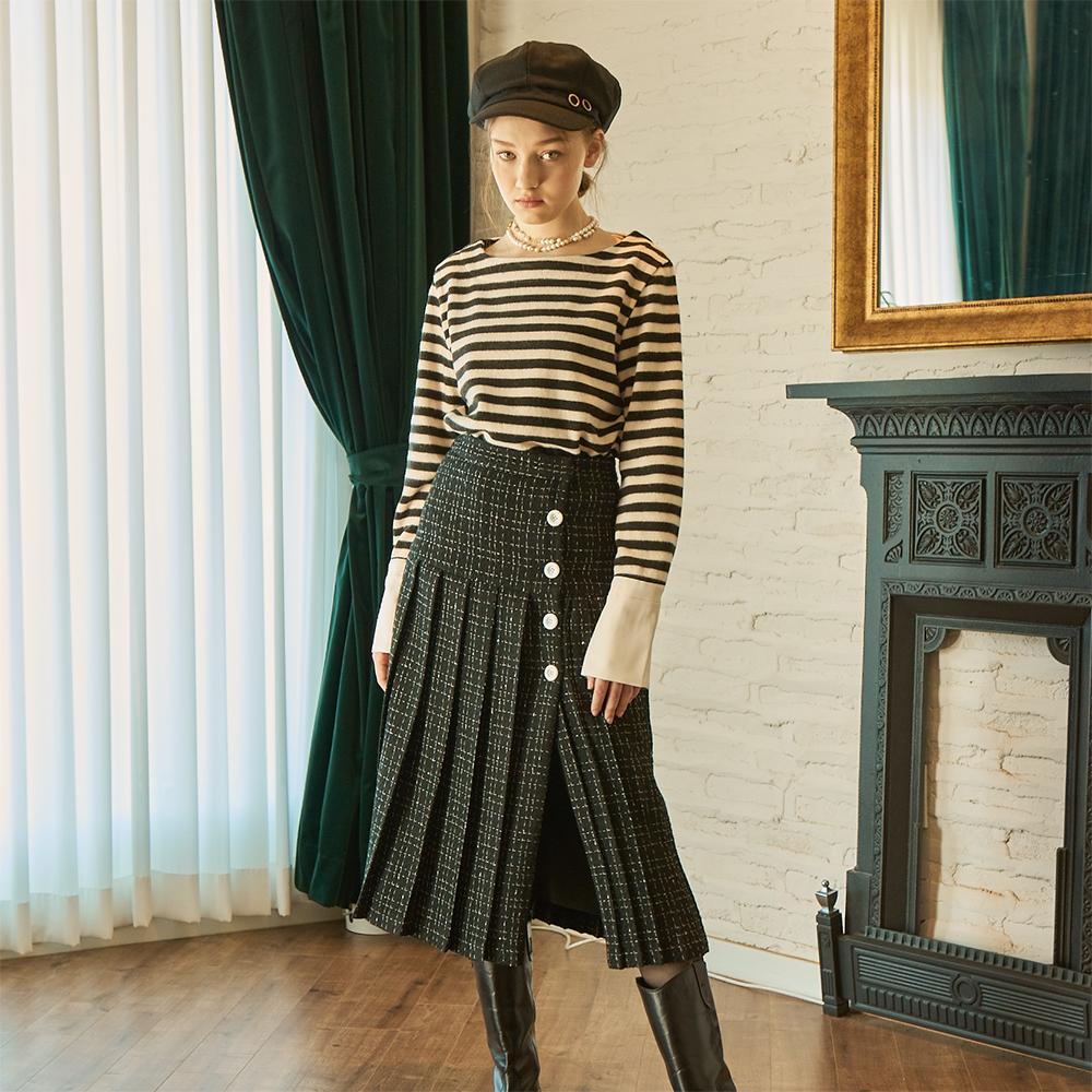 [살롱드욘] Tweed Pleats Skirt_ Black