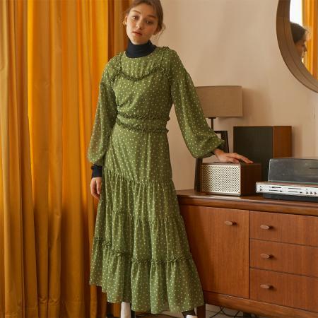 [살롱드욘] Dot Tulle Dress_ Green