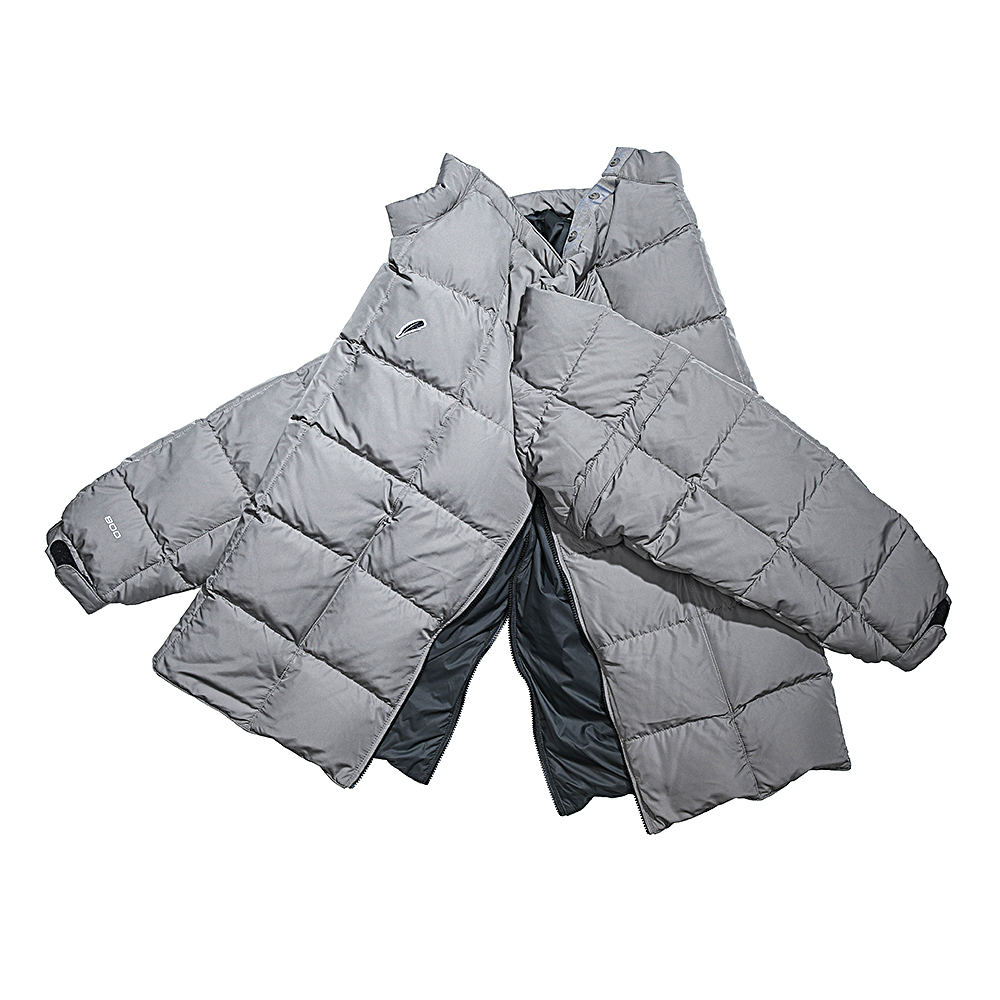 DETACHABLE GOOSE DOWN PULLOVER(SILVER GREY)